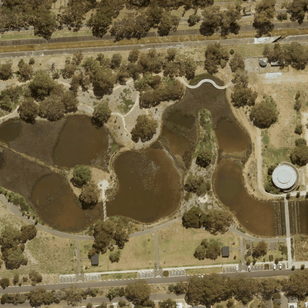 An aerial image of the Oaklands Wetlands